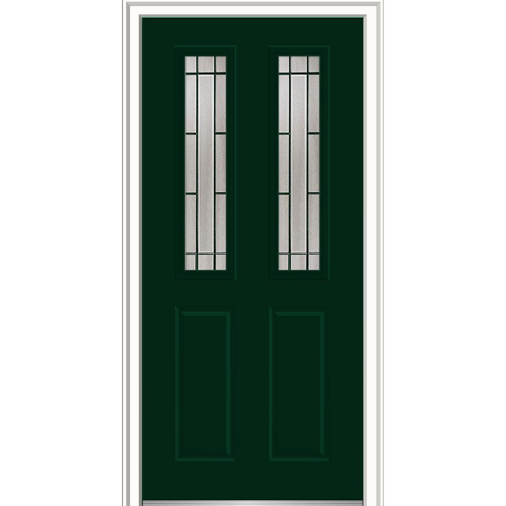 MMI Door 36 in. x 80 in. Solstice Glass Hunter Green Left-Hand ...