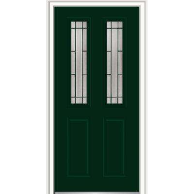 36 in. x 80 in. Solstice Glass Hunter Green Right-Hand Inswing 2-Lite Decorative Painted Steel Prehung Front Door
