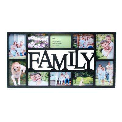 Family 14.5 in. x 28.5 in. 10 Opening 4-5 x 7 in and 6-4 x 6 in. Black Collage Frame