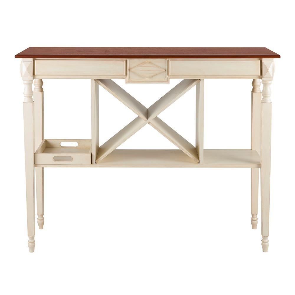 Elegant Home Fashions Kansas 12-Bottles Wine Console Table in Mahogany/Distressed Off White