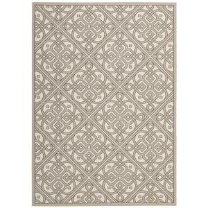 Lace It Up Stone 8 ft. x 11 ft. Indoor/Outdoor Area Rug
