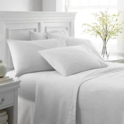 6-Piece White Solid Microfiber Queen Sheet Set