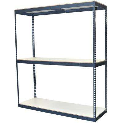 72 in. H x 72 in. W x 24 in. D 3-Shelf Bulk Storage Steel Boltless Shelving Unit w/Double Rivet Shelves & Laminate Board