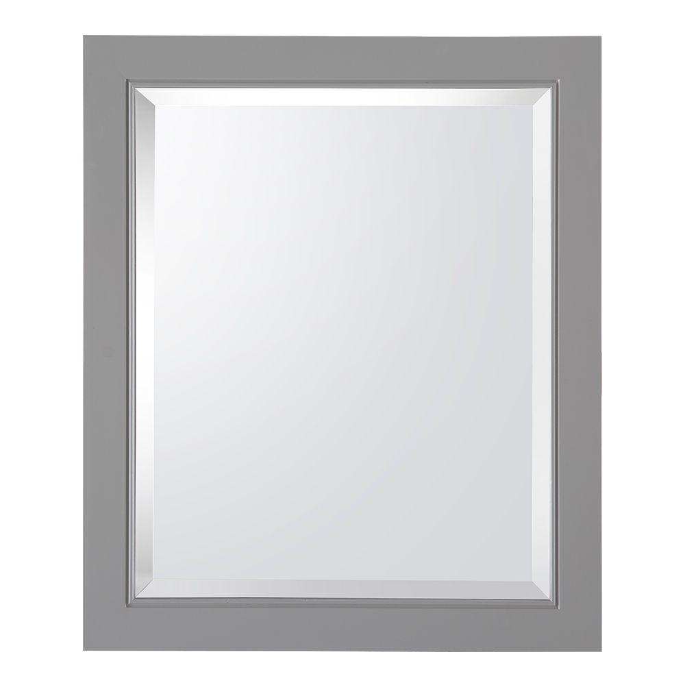 Gazette 22 in. W x 26 in. H x 6-5/8 in. D Framed Surface-Mount Bathroom Medicine Cabinet in Grey