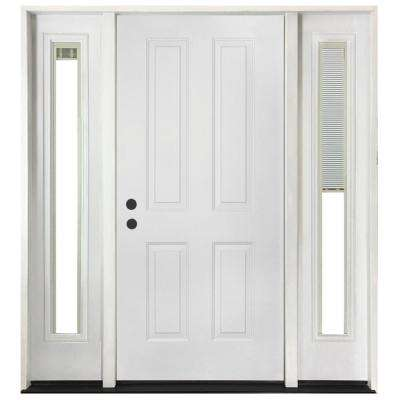 68 in. x 80 in. 4-Panel Primed White Right-Hand Steel Prehung Front Door with 14 in. Mini Blind Sidelites 6 in. Wall