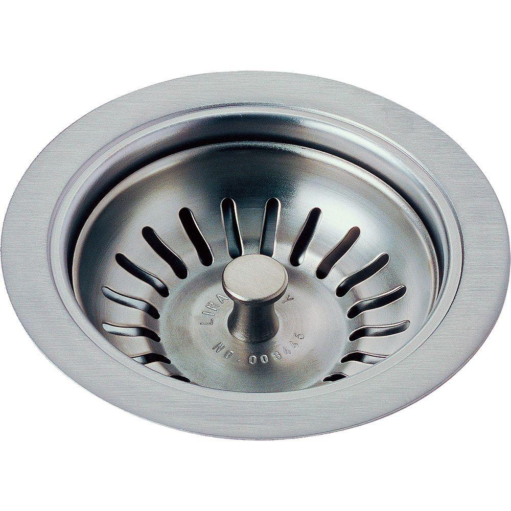 delta 4-1/2 in. kitchen sink flange and strainer in arctic