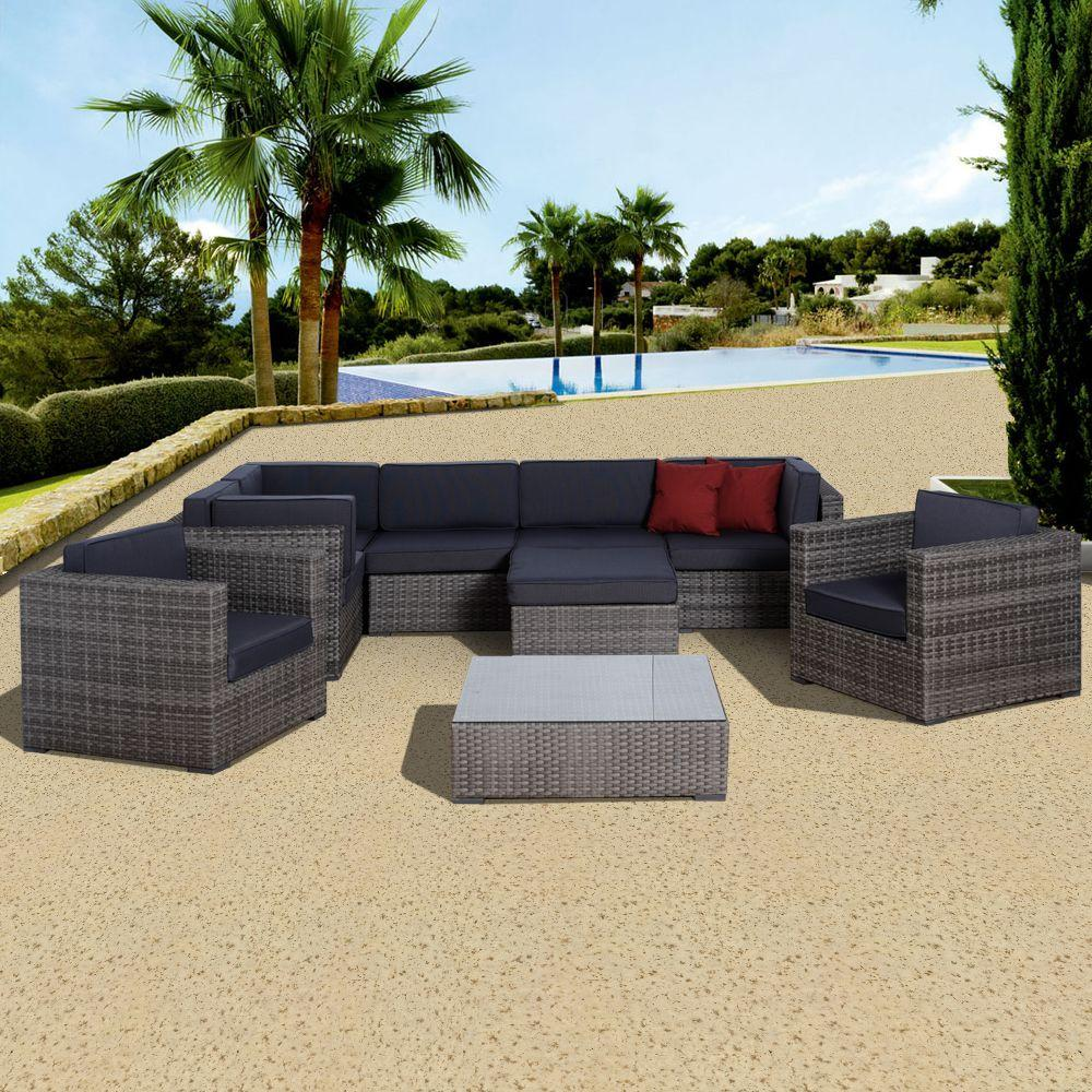 Atlantic Contemporary Lifestyle Southampton 9-Piece All-Weather Wicker Patio Seating Set with Gray Cushions