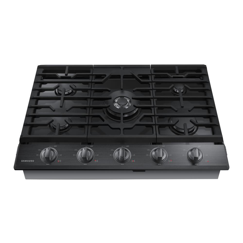 Gas Cooktop In Black Stainless Steel With 5 Burners Including Power Burner  With