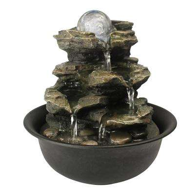 Rock Cascading Tabletop Fountain with LED Light for Home Office Bedroom Relaxation