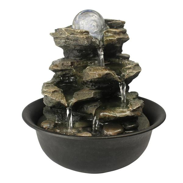 Casainc Rock Cascading Tabletop Fountain With Led Light For Home Office Bedroom Relaxation Wf Js 7156035 The Home Depot