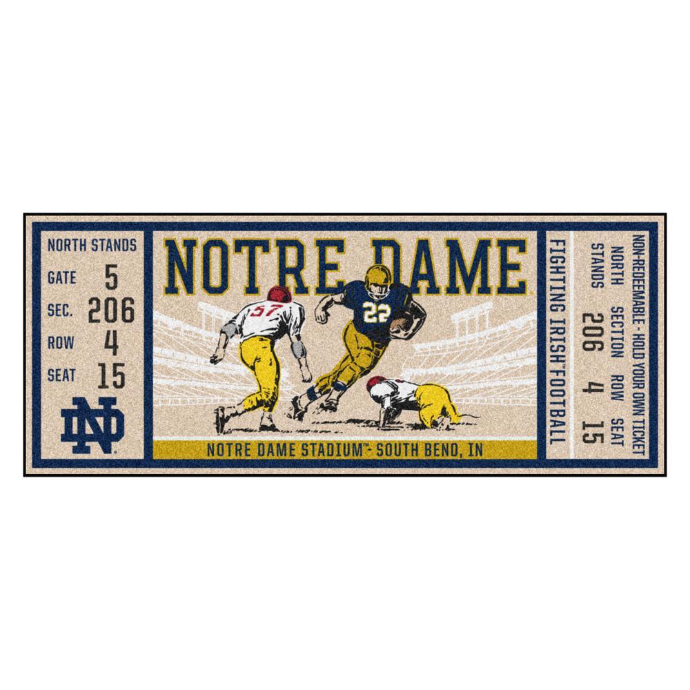 NCAA Notre Dame 30 in. x 72 in. Indoor Ticket Runner Rug