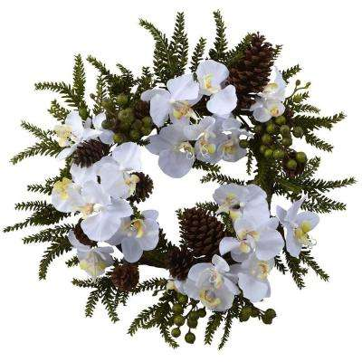22 in. Phalaenopsis and Pine Wreath
