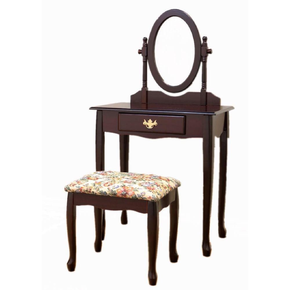 Linon Home Decor Camden 2-Piece Black Cherry Vanity Set