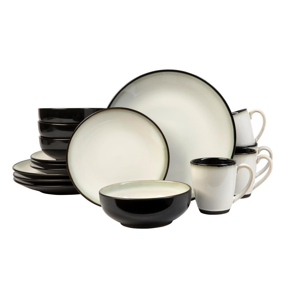sango nova black 16 piece dinnerware set 3603bk801acn84 the home depot. Black Bedroom Furniture Sets. Home Design Ideas