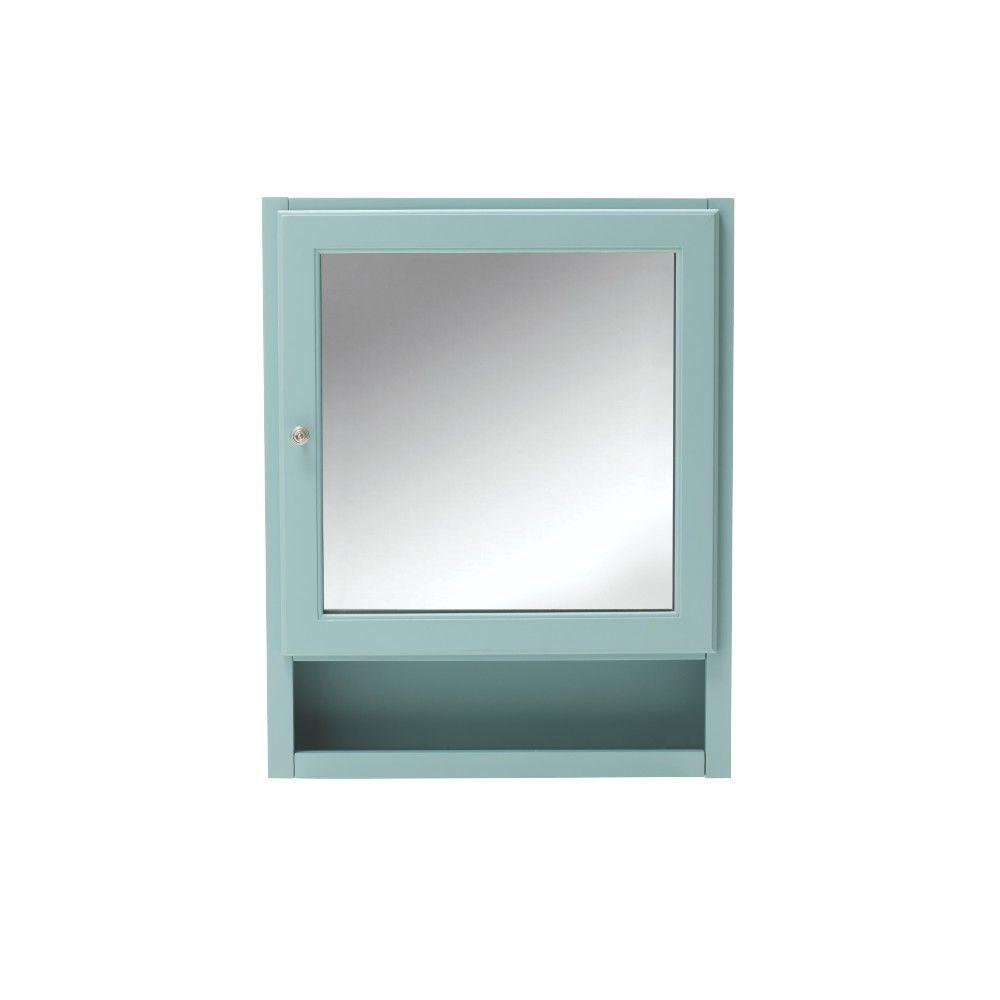 Beau Home Decorators Collection Ridgemore 24 In. W Mirrored Wall Cabinet In Sea  Glass