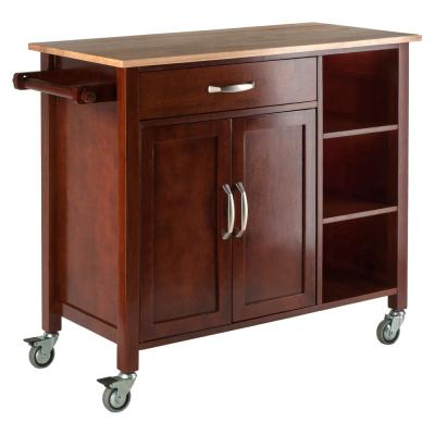 Mabel Walnut Kitchen Cart with Natural Wood Top