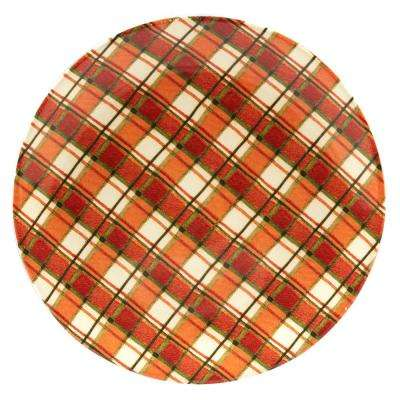 Autumn Fields by Susan Winget Plaid 13 in. Round Platter