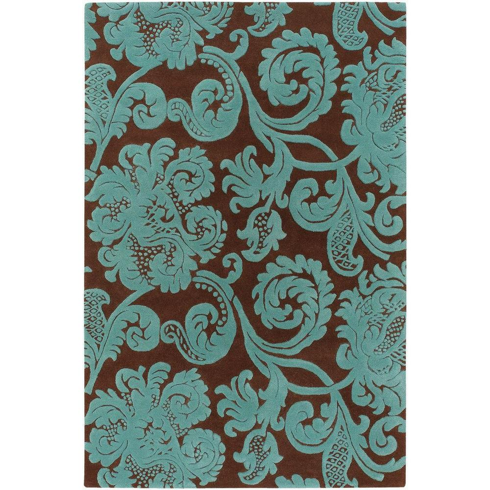 Chandra Venetian Brown Aqua 8 Ft X 11 Indoor Area Rug