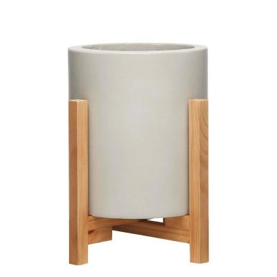 Cylinder 8.8 in. x 9.75 in. Tall Gray Concrete Planter with Stand