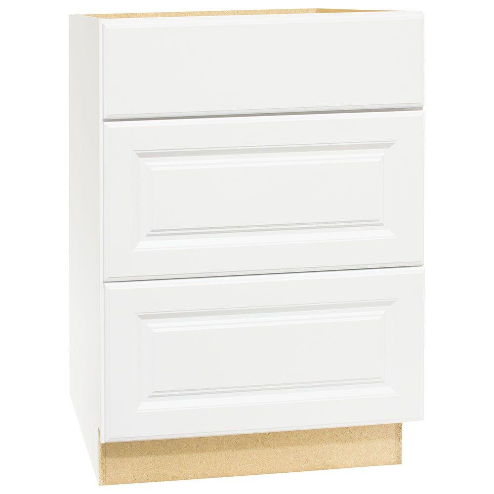 Hampton Bay Hampton Assembled 24x34.5x24 in. Drawer Base Kitchen Cabinet with Ball-Bearing Drawer Glides in Satin White