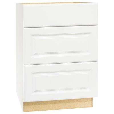 Hampton Assembled 24x34.5x24 in. Drawer Base Kitchen Cabinet with Ball-Bearing Drawer Glides in Satin White
