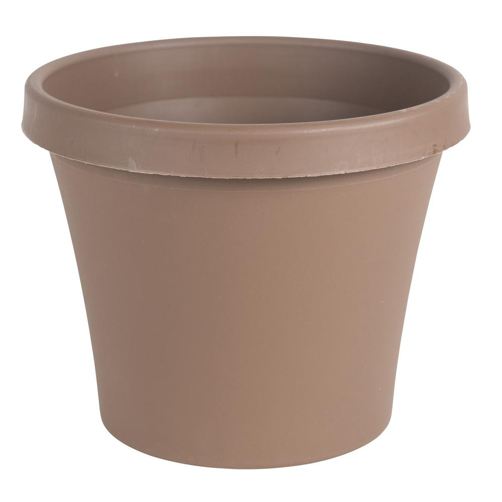 Terra 12 in. Chocolate Plastic Planter