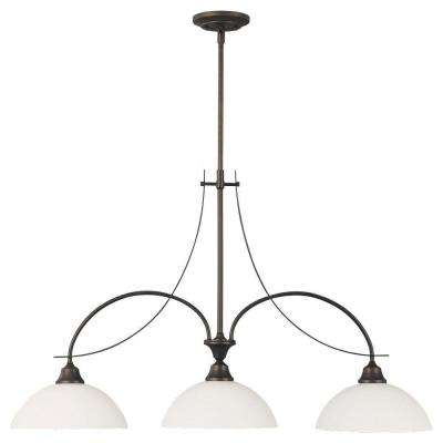 Boulevard 3-Light Oil-Rubbed Bronze Chandelier with White Opal Glass Shade