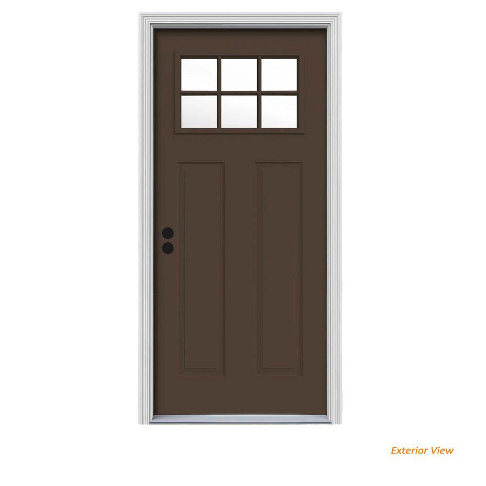 32 in. x 80 in. 6 Lite Craftsman Dark Chocolate Painted Steel Prehung Right-Hand Inswing Front Door w/Brickmould