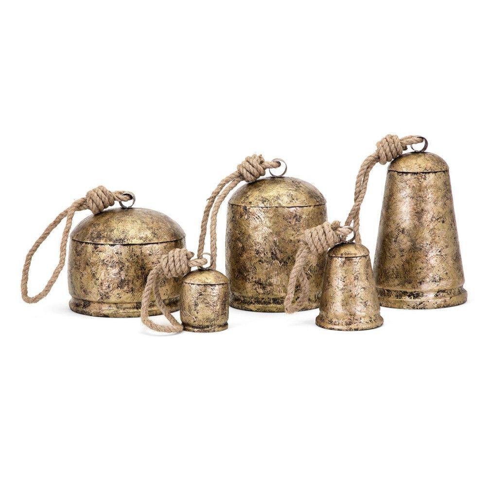 Alina Golden Metal Temple Bells (Set of 5)