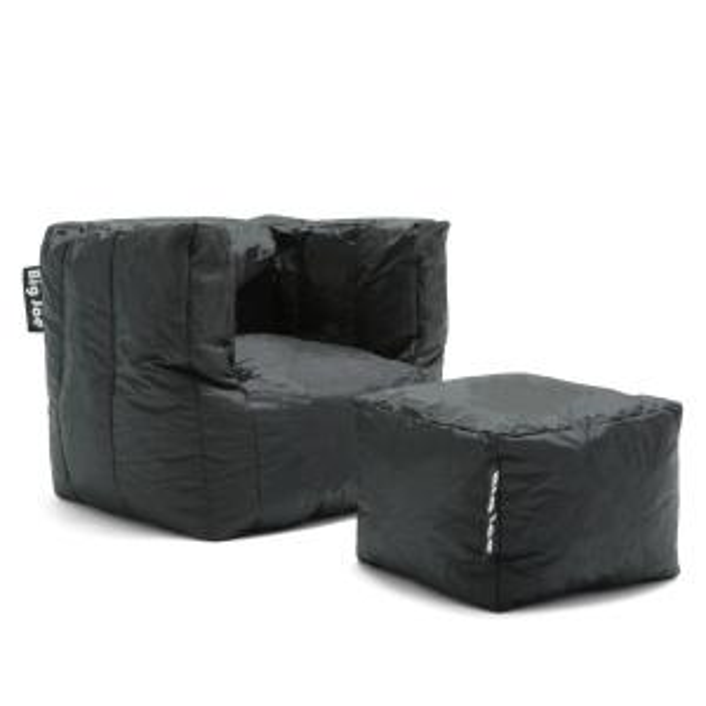 Big Joe Cube Chair With Ottoman Stretch Limo Black