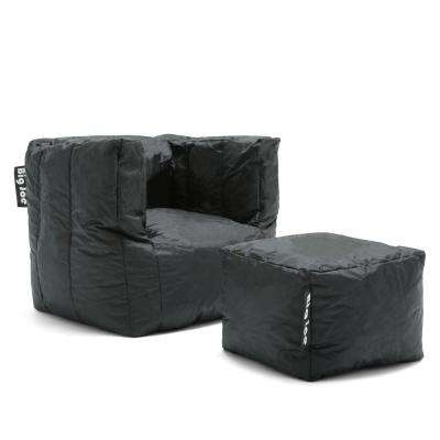 Cube Chair with Ottoman Stretch Limo Black SmartMax Bean Bag