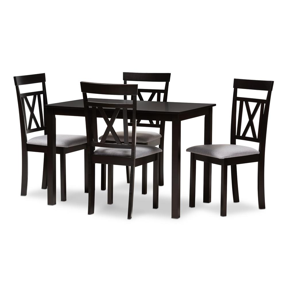 Rosie 5-Piece Espresso Brown and Gray Dining Set