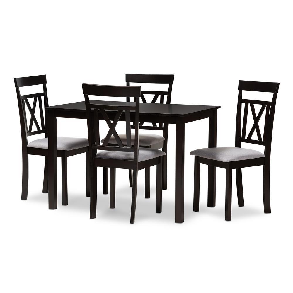 Rosie 5-Piece Espresso Brown and Gray Dining Set