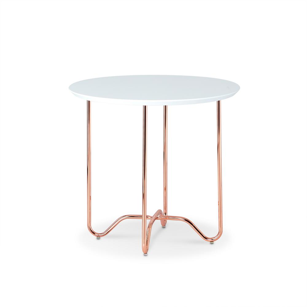 Acme Furniture Canty End Table In White And Rose Gold 81862 The