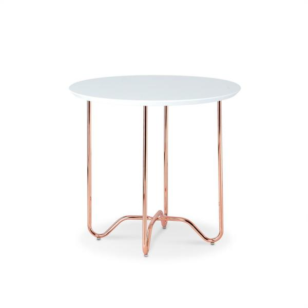 Acme Furniture Canty End Table In White And Rose Gold