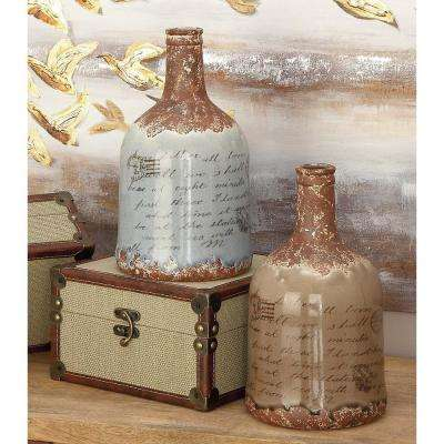 12 in. Whimsical Inscription Distressed Taupe and White Ceramic Decorative Vases (Set of 2)