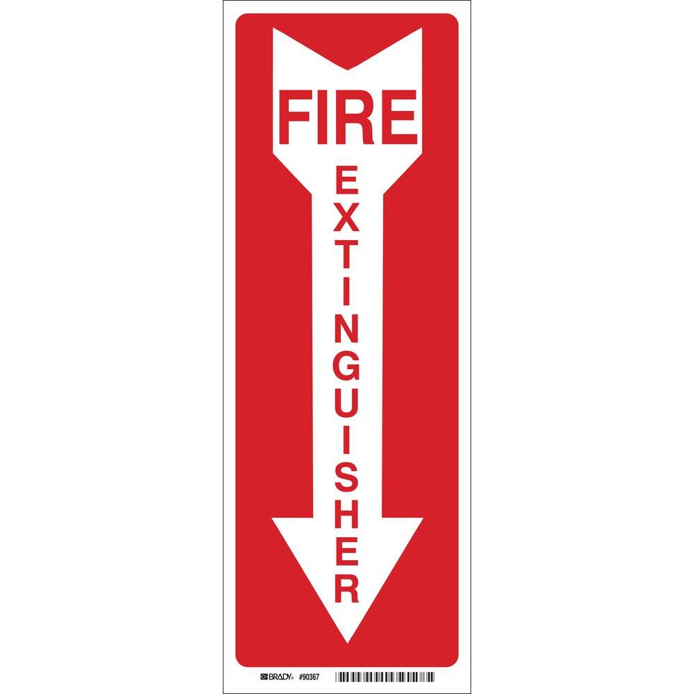 Brady 24 In X 4 In Fiberglass Fire Extinguisher With Arrow Sign