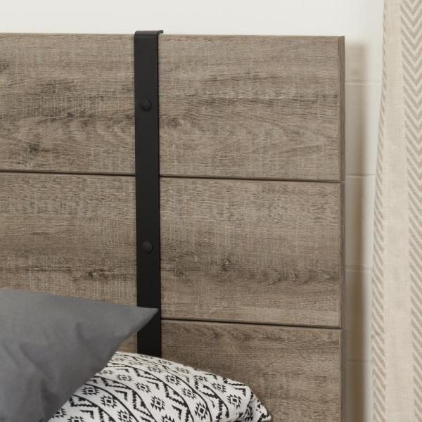 South Shore Valet Weathered Oak Queen Platform Bed 10529 The Home Depot