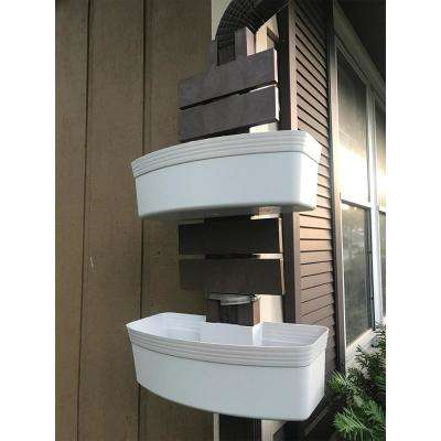 7 in. x 16.5 in. White Plastic Vertical Garden Planter
