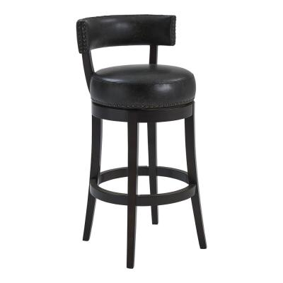"""Corbin 30"""" Bar Height Wood Swivel Barstool in Espresso Finish with Onyx Faux Leather"""