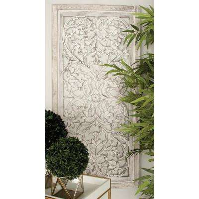 51 in. x 24 in. Rustic Decorative Wooden Wall Panel in White Patina