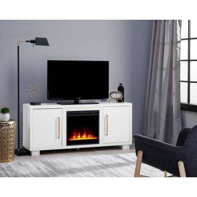 Shelby 55 in. Media Console with 18 in. Electric Fireplace TV Stand in White