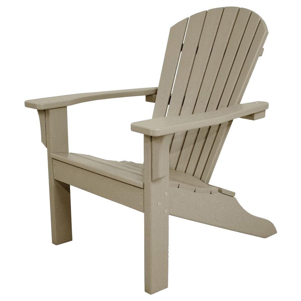 Classics Sand Shell Back Plastic Patio Adirondack Chair