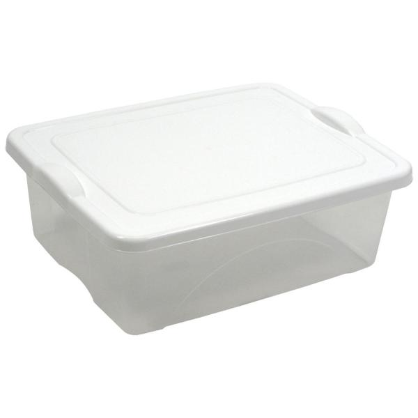 Taurus 5.25 Gal. Clear View Storage Tote with Snap on White Lid