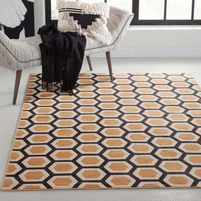 Sonoma Honeycomb Tangerine 5 ft. 3 in. x 7 ft. 6 in. Area Rug