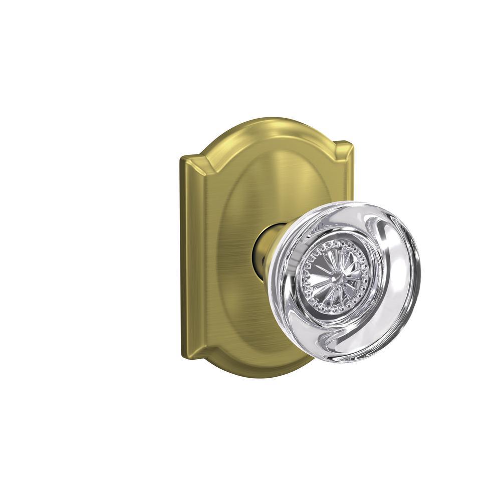 Custom Hobson Satin Brass Camelot Trim Combined Interior Knob