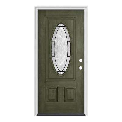 36 in. x 80 in. 3/4 Oval Lite Wendover Juniper Stained Fiberglass Prehung Left-Hand Inswing Front Door