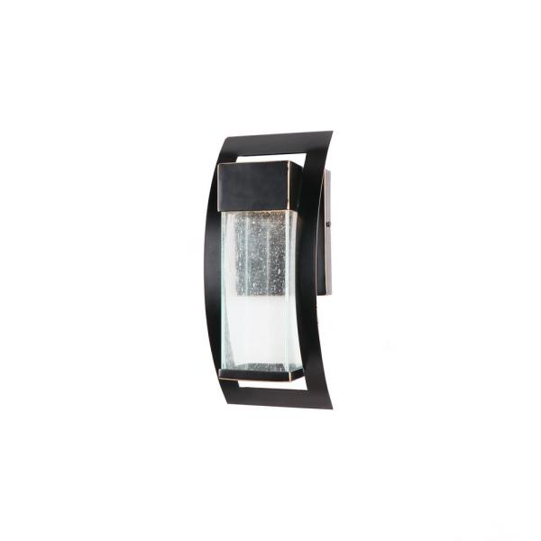 1-Light 12 in. Integrated LED Light Outdoor Wall Lantern Sconce in Imperial Black