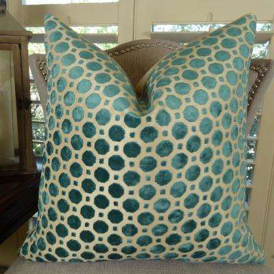 Velvet Turquoise 12 in. x 20 in. Turquoise and Taupe Hypoallergenic Down Alternative Double Sided Throw Pillow
