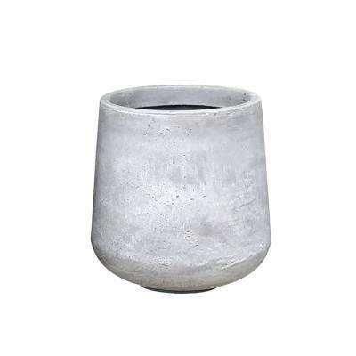 Large 17.3 in. Tall Natural Lightweight Concrete Footed Tulip Outdoor Round Planter